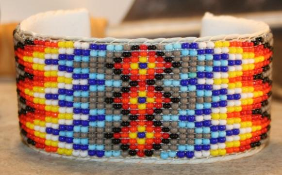 Hand Beaded Buckskin Native American Cuff Bracelet